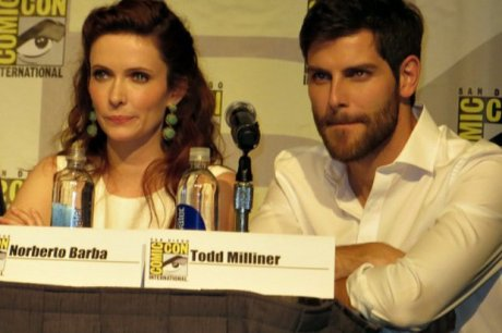 "Bitsie Tulloch (Juliette) and David Giuntoli (Nick) from NBC's ""Grimm."""